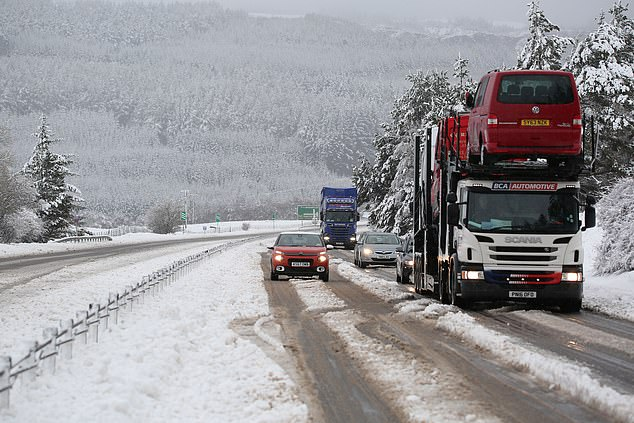 Some voters had to battle snowy conditions to get to their polling station, with wintry weather in parts of the north amid a Met Office yellow weather warning for snow across much of the Highlands, Grampian and down towards the central belt. Pictured, Daviot near Inverness