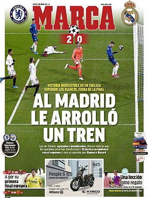 Marca say Real were 'rolled over by a train' in their defeat by Chelsea on Wednesday night