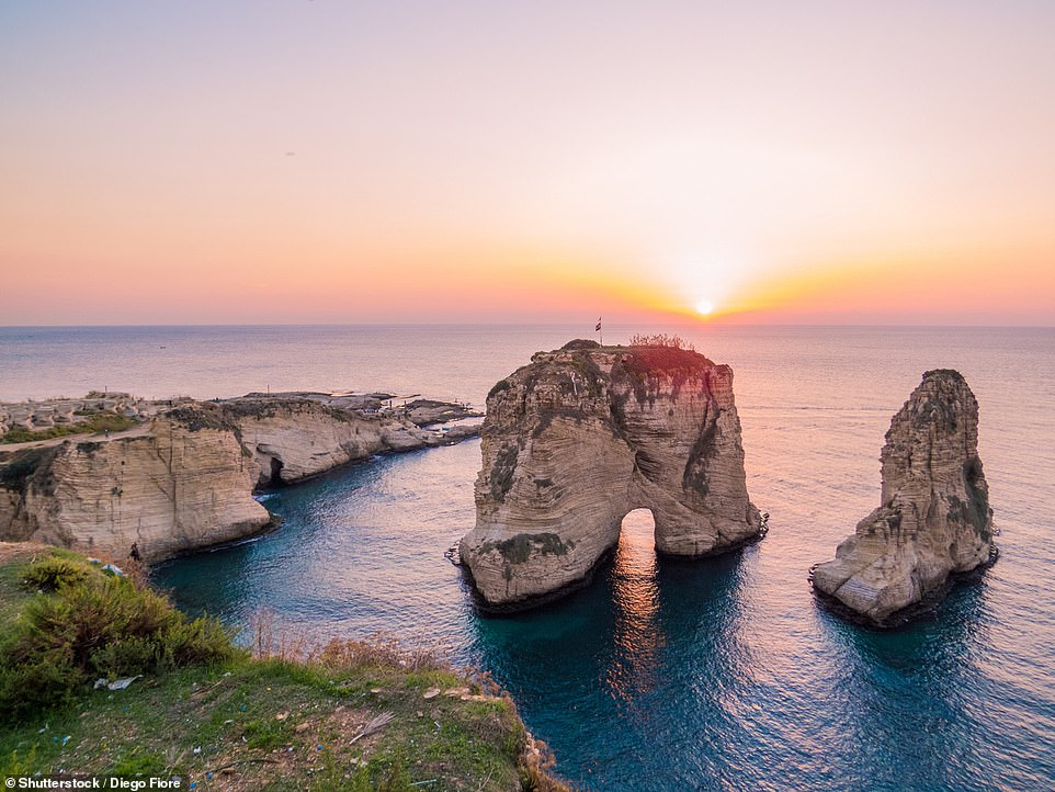 Pigeons' Rock, also known as the Rock of Raouché, is located in Lebanon at Beirut's western-most tip. The landmark consists of two huge limestone outcrops with the southern stack featuring a perfectly curved natural arch