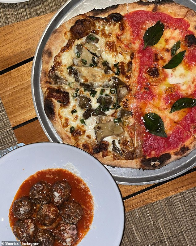 An Italian meal: The star, who has five siblings, enjoyed pizza and meatballs
