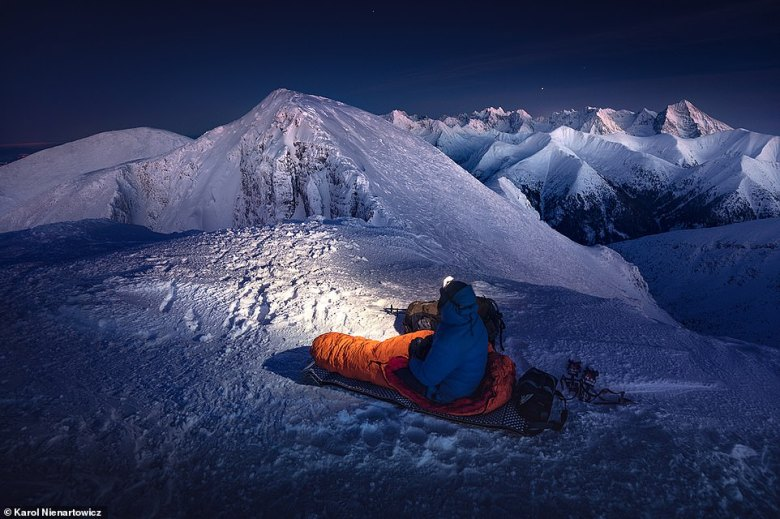 Karol waits for the moon to rise in this incredible shot taken in the Czerwony Wierchy range of the Tatra Mountains. He said a warm sleeping bag is crucial as there can be a lot of waiting around in cold temperatures to get the right conditions for taking pictures