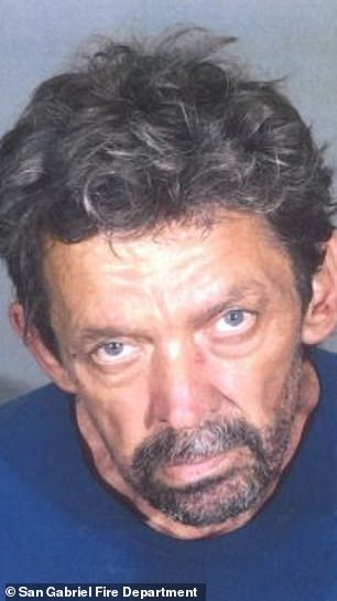 Suspect John David Corey, 57, also known as 'Joker', is accused of starting a fire at The San Gabriel Mission as it was undergoing renovations on July 11, 2020, to mark its upcoming 250th anniversary celebration