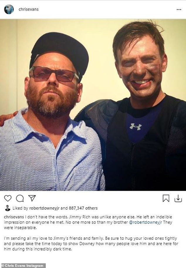 'Please take the time today to show Downey how many people love him and are here for him during this incredibly dark time':Chris Evans also took to his Instagram to pay tribute to Rich as he shared a photo of the two of them together