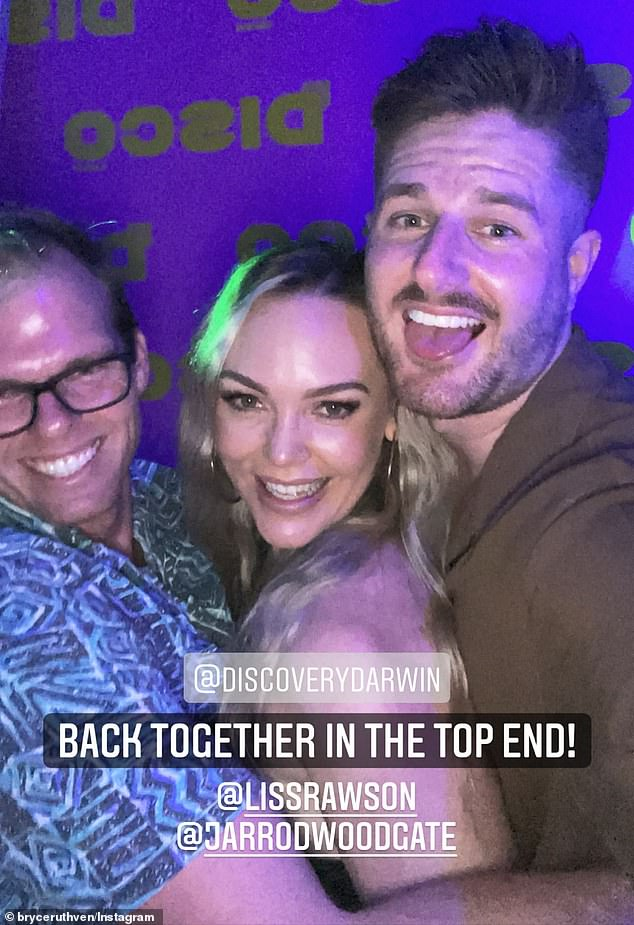 Fancy seeing you here! The couple bumped into Bachelorette star Jarrod Woodgate (far left) at the club