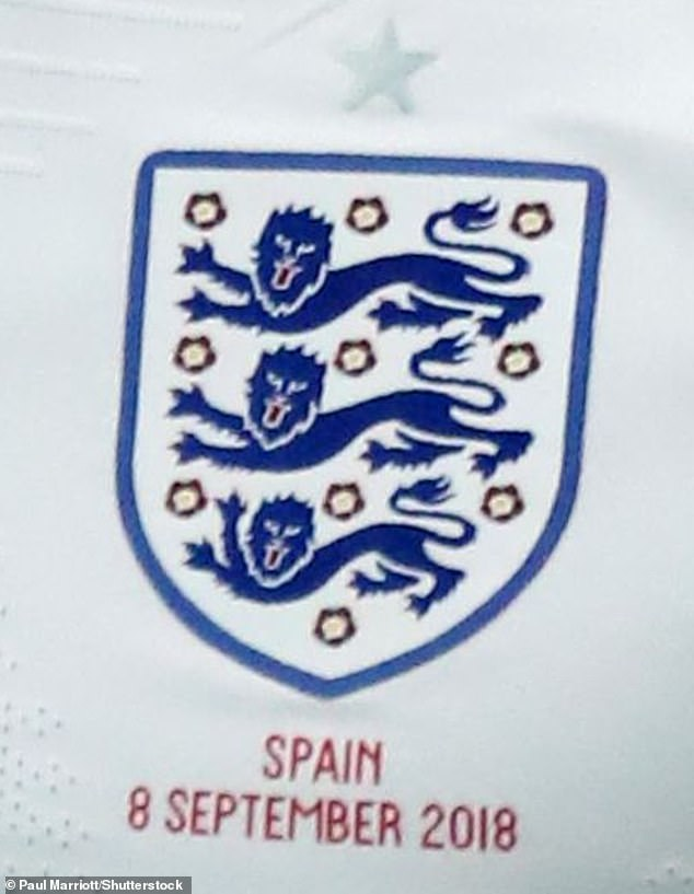The sport's governing body said the new design was launched as part of an initiative called England Football to increase participation in the game at an amateur level. Pictured: The original Three Lions logo on the England kit