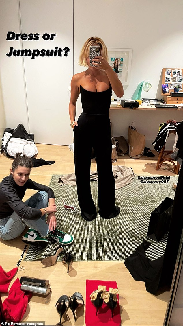 Expert opinion: She was joined at the fitting by stylist Jess Pecoraro, who cut a comparatively casual figure in jeans and a black turtleneck