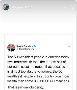 And Aidy Bryant Instastoried a March 25 tweet from Senator Bernie Sanders about the 'moral obscenity' of the '50 wealthiest people owning more than 165M Americans'