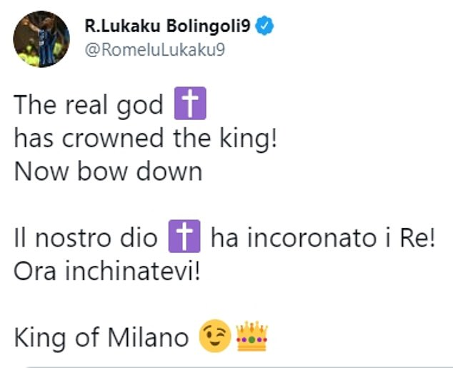 The Belgian took to Twitter to aim a dig at Ibrahimovic, who calls himself the 'God of Milan'