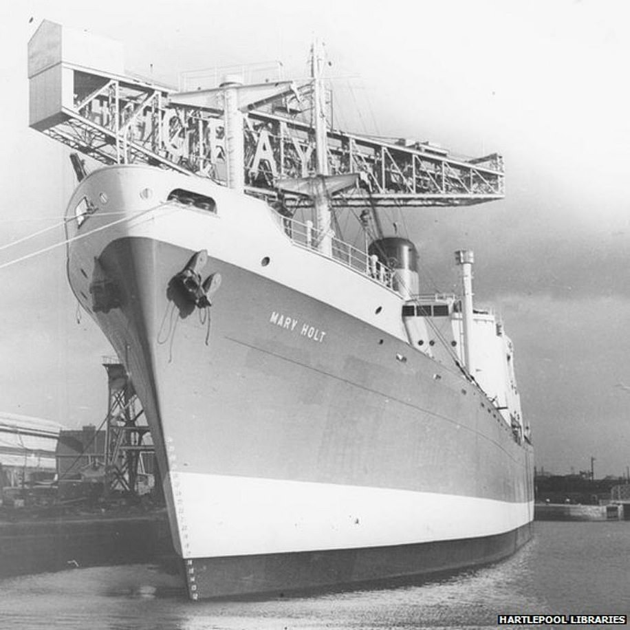 As for its ship-building industry, the town was home to famous yards such as Gray's, Irvine's, Richardsons and Pounders. Pictured: A ship in Hartlepool's docks