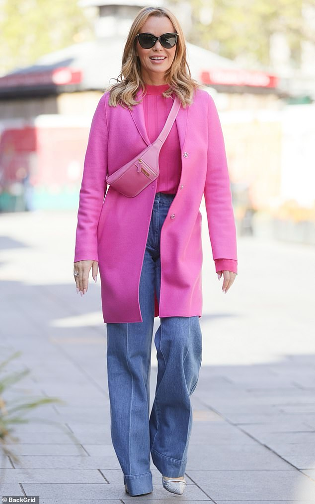Pretty!Amanda Holden, 50, looked pretty in pink as she rocked a fuchsia coat and wide-leg jeans while leaving Heart FM in central London, on Friday