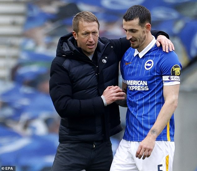 Potter said the rumours should be taken 'with a pinch of salt' and that he is 'happy' at Brighton