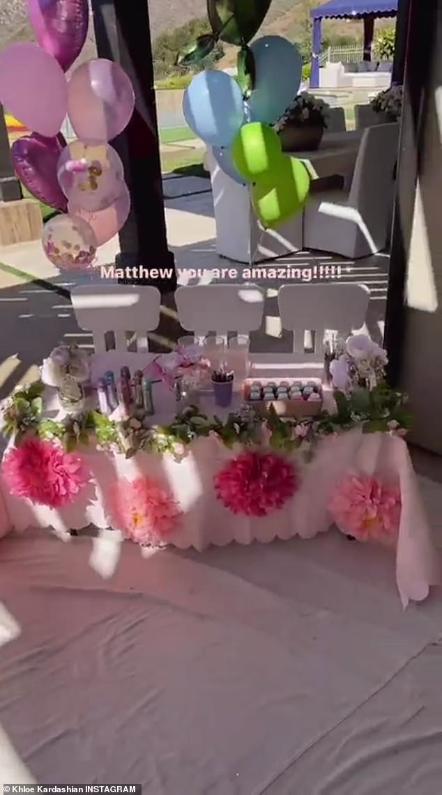 Pretty: 'I am doing a cousin painting party this afternoon,' the mother-of-one said to her Instagram Story as she captured the elaborate set-up, organised by assistant Matthew Ryan