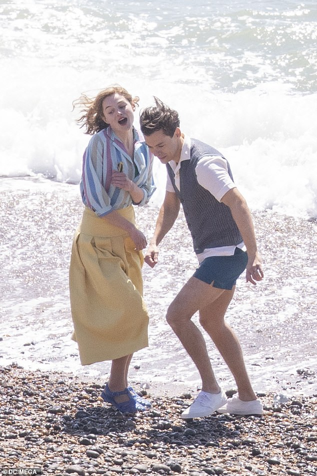 Loved up:The One Direction star is starring in the movie, which is set in Brighton in the 1950s, and is based on Bethan Roberts' novel, focusing on police officer Tom, who is gay, but married to Marion (Emma) due to expectations