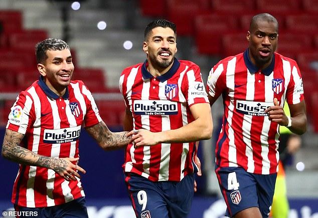 Suarez (centre) has spearheaded Atletico Madrid's title push in LaLiga ahead of the showdown
