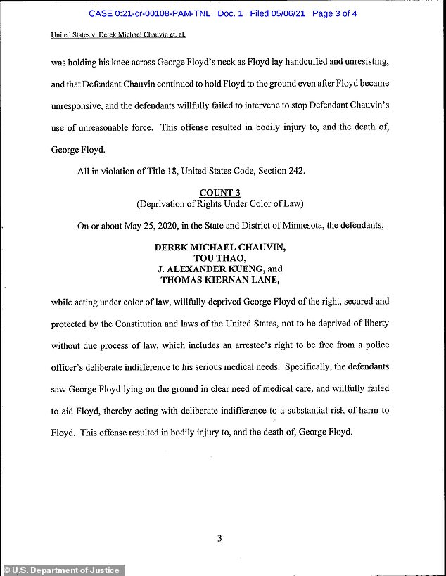 The first federal indictment contained three counts relating to Floyd's death - one charging all four cops, one charging Thao and Kueng and the third charging only Chauvin