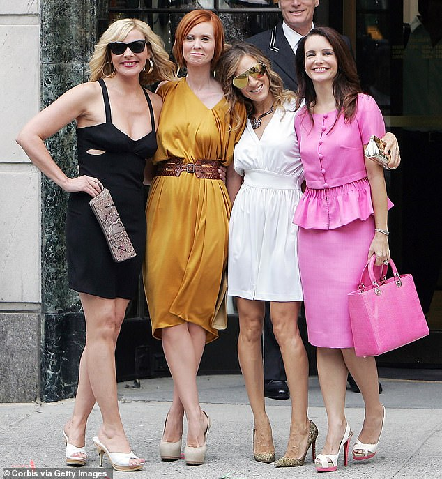 Happier times: Cattrall is also not returning for the reboot due to an alleged feud with teammates Sarah Jessica Parker, 56, Kristin Davis, 56, and Cynthia Nixon, 55.  not well behind the scenes.  Photographed in 2009