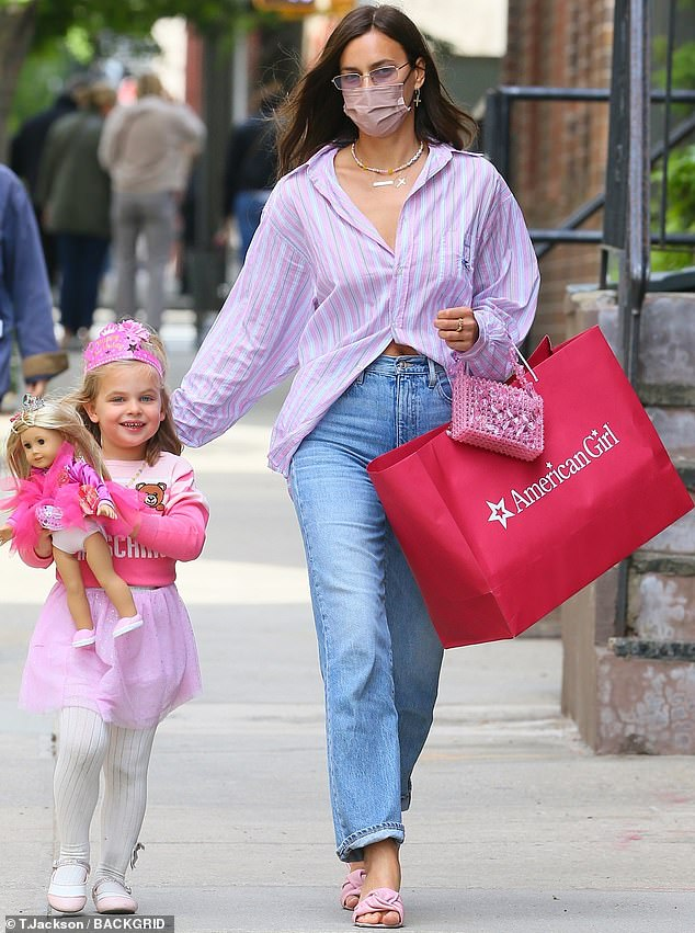 So sweet: Irina Shayk adored her four-year-old daughter Lea De Seine when they stepped out in New York on Friday
