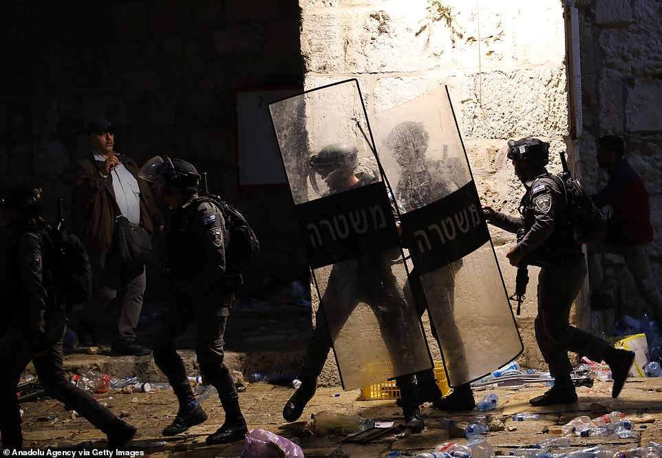 The number of injured rose to 178 in Israeli attacks at Al-Aqsa Mosque, Damascus gate of the Old City and Sheikh Jarrah district in East Jerusalem on late Friday. Pictured, Israeli police
