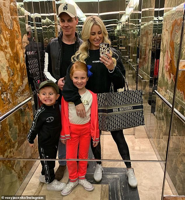 Family: Roxy shares Pixie with her husband, former investment banker Oliver Curtis, whom she married in 2012. They are also proud parents to a seven-year-old son, Hunter (all pictured)