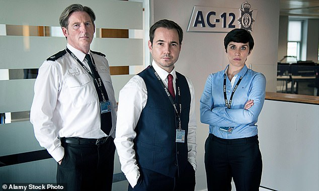 Finale:In hilarious scenes, the Channel 4 cast reacted to the final episode of the BBC One police drama with fans joking that Jenny's frustrations deserved a BAFTA for must-see moment of the year (Line Of Duty's Vicky McClure, Martin Compston and Adrian Dunbar in show still)
