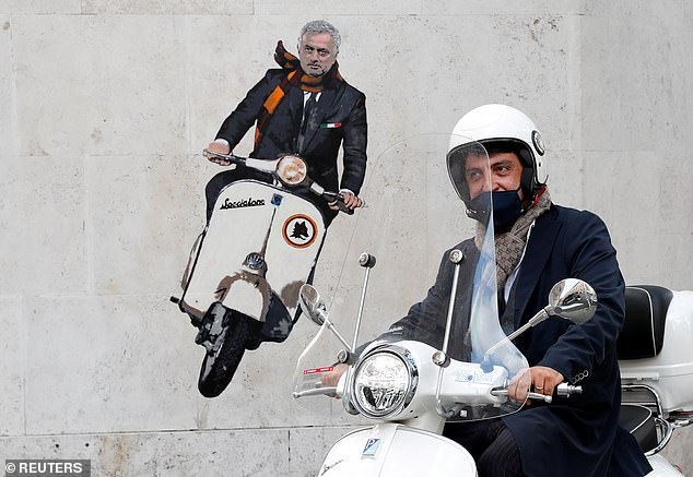 A mural was unveiled on a wall on Rome as the Italian capital waits for the Special One's arrival