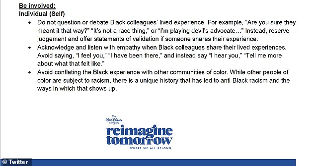 Guide includes notes that instruct staff not to question the life experiences of black colleagues