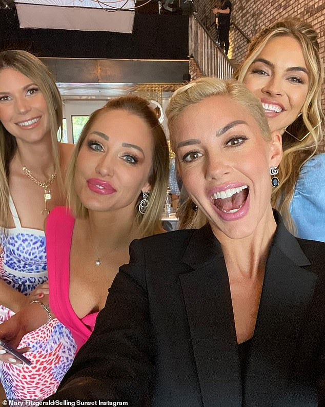Social media excitement: The gang of realtors all took to social media to share the news as they shot together in The Oppenheim Group's Sunset Strip office
