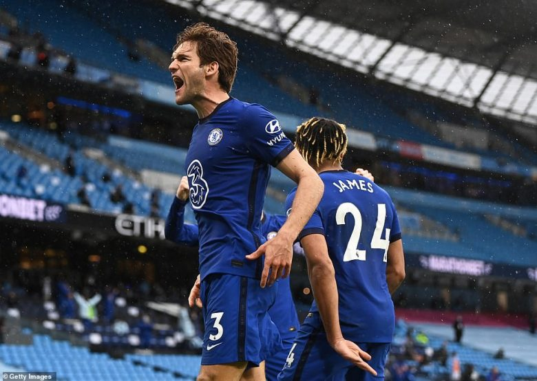 Marcos Alonso's winner earned Chelsea a 2-1 victory at Manchester City to deny Pep Guardiola' side the title on Saturday