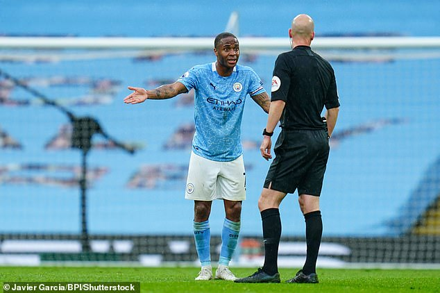 Sterling remonstrated with Taylor but VAR also confirmed the referee's no-penalty decision