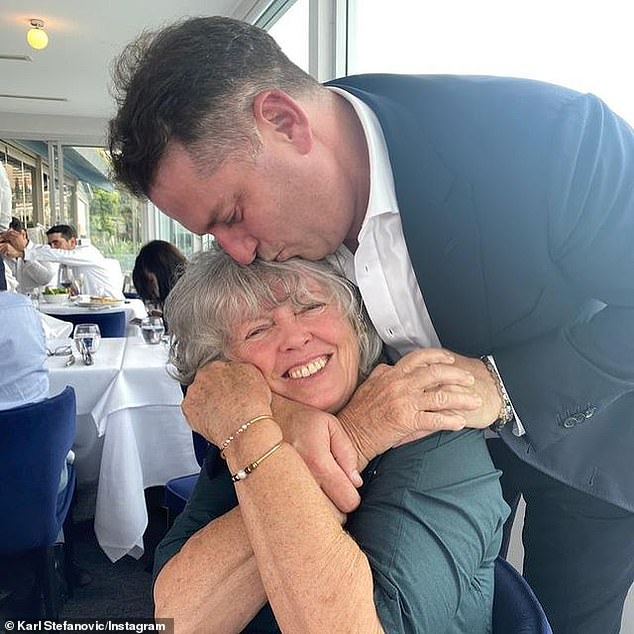 Tribute: The breakfast TV host also shared a photo of his own mother Jenny with him planting a kiss on her forehead during a luncheon from a rarely-seen photo
