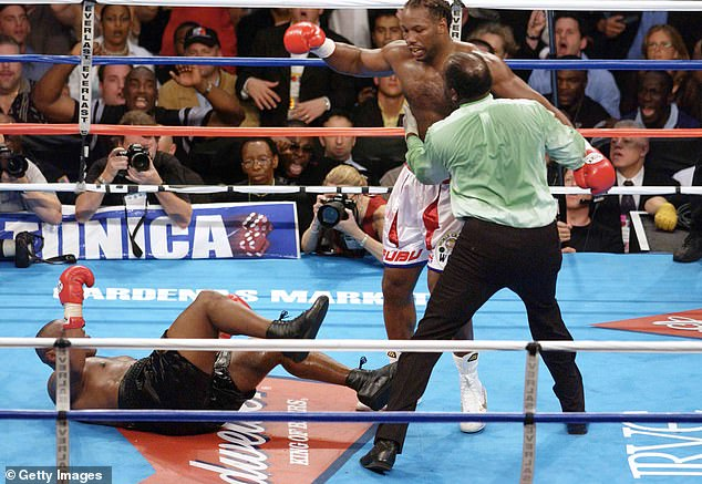 The fight came to an end when Lewis landed a crushing right hand that wiped out Tyson
