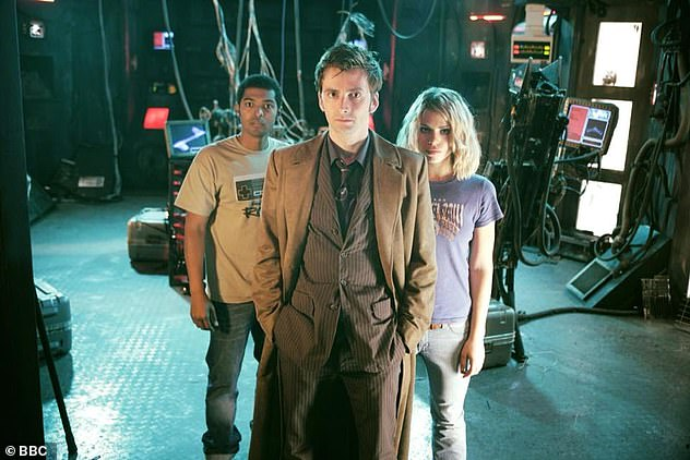 Accusations: Clarke was at the centre of further allegations he sexually harassed or touched others on BBC hit Doctor Who on Friday (pictured on show with David Tennant and Billie Piper)