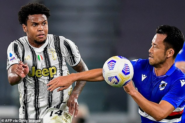 McKennie pictured in his first Serie A game with Juventus against Sampdoria in September