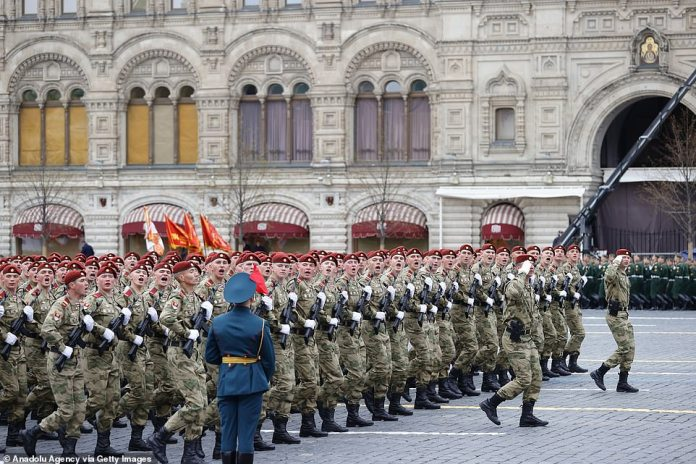 Parade of ceremonial soldiers on the 76th anniversary of Victory Day t on Red Square in Moscow, Russia