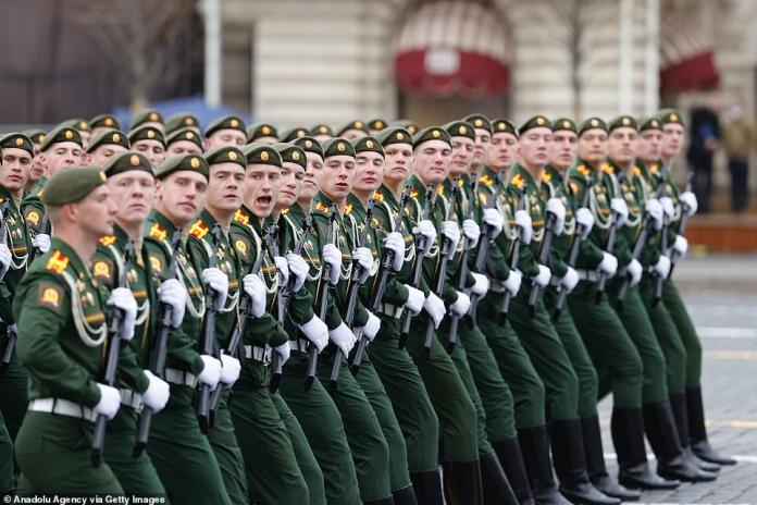 Parade of ceremonial soldiers on the 76th anniversary of Victory Day in Red Square in Moscow, Russia, May 9