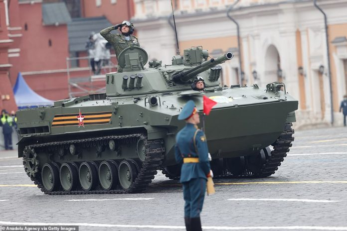 Armored vehicles take part in the military parade on the 76th anniversary of Victory Day t on Red Square in Moscow, Russia