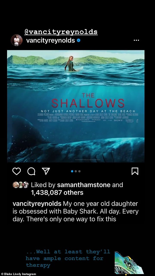 Taking hits: Last month, the actor also poked fun at his daughter Betty's Baby Shark obsession, joking his wife's thriller The Shallows, which sees Blake escape a great white shark, could '' fix '' their daughter's obsession with jingle