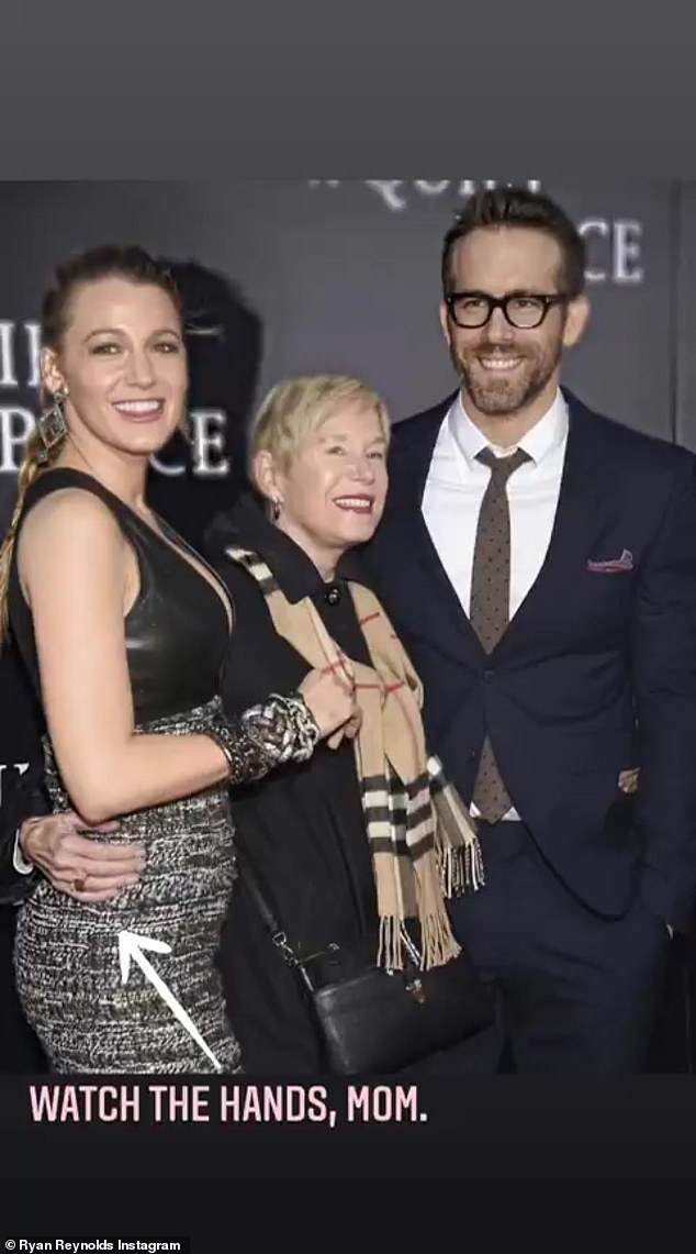 Family fun: Another featured an image of Ryan and his mother at a red carpet event, with Tammy's arm wrapped around Blake's waist
