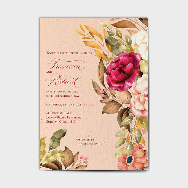 PLANT OUT YOUR WEDDING INVITE: Recycled paper embedded with wildflower or herb seeds and used for wedding invites, confetti, business cards, greetings cards (pictured)