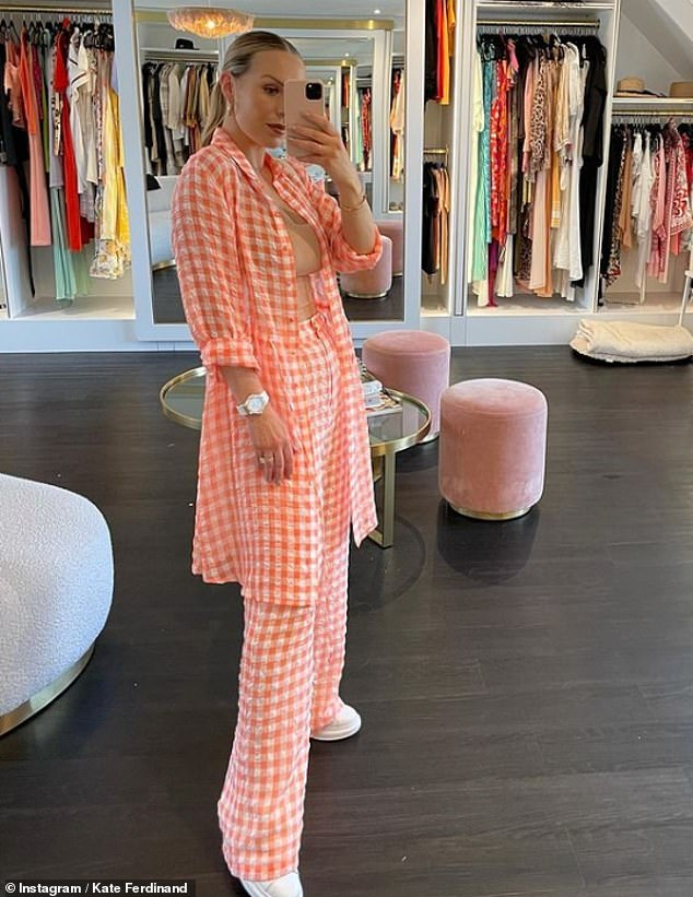 Style savvy:Kate Ferdinand was the picture of confidence as she posed in her walk-in wardrobe for stunning images shared to her Instagram on Sunday evening