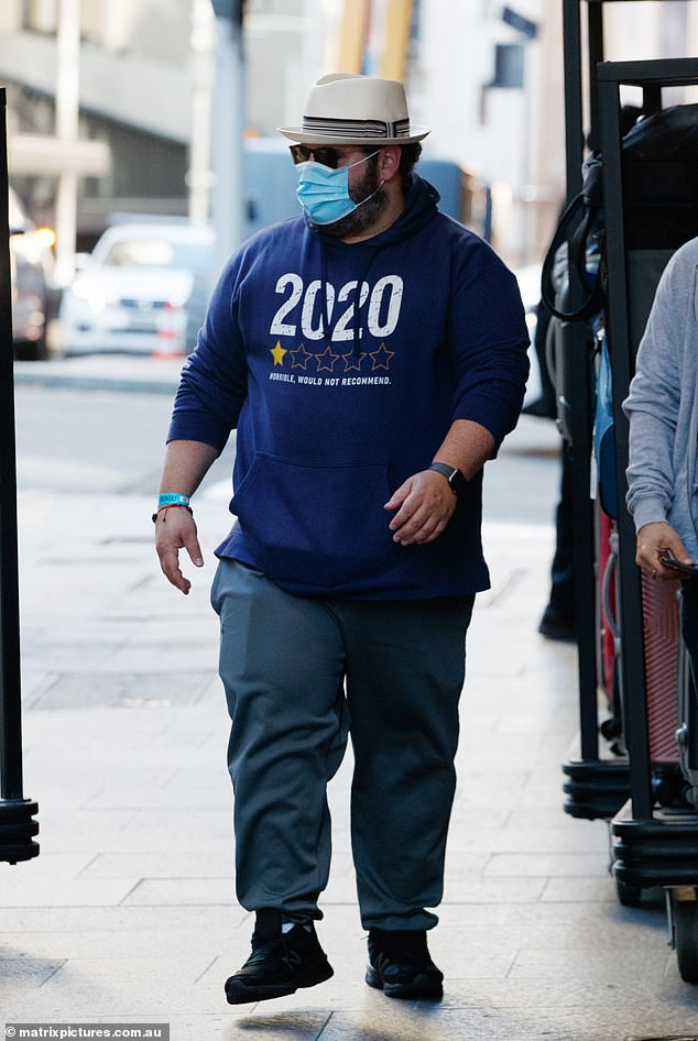 Let him go, let him go!  Frozen star Josh Gad, 40, was spotted leaving some 40 Sydney hotels on Monday after traveling to Australia to film the Stan Original series Wolf Like Me starring Isla Fisher