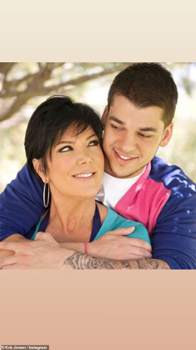 Her boy: Kris also shared a throwback snap with her only son Rob Kardashian
