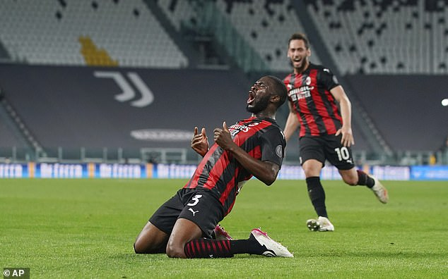 Fikayo Tomori scored his first AC Milan goal on Sunday in the crucial 3-0 win over Juventus