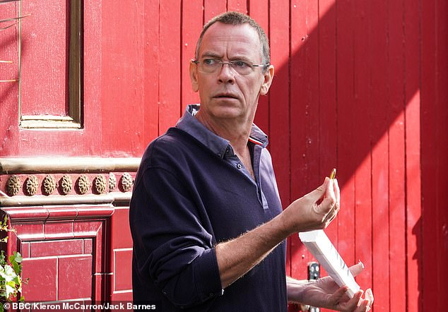 In character: the actor is currently on a 10-month sabbatical from playing Ian Beale in the BBC One soap after being a core member of the cast for 36 years (pictured on the show in 2020)