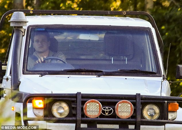 En route!Once loading his Toyota ute, Chandler was spotted getting behind the wheel.