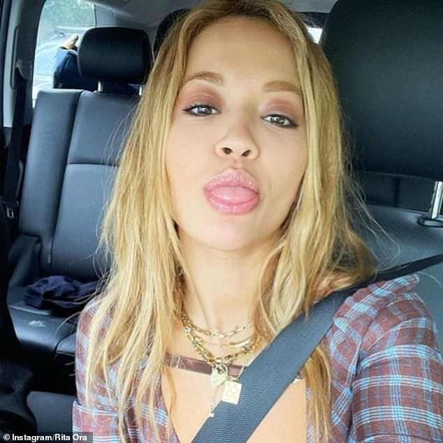 Rita also shared selfies taken in her car and walk-in wardrobe where she wears the $129 Cleo and $129 Fleur chains linked around her neck