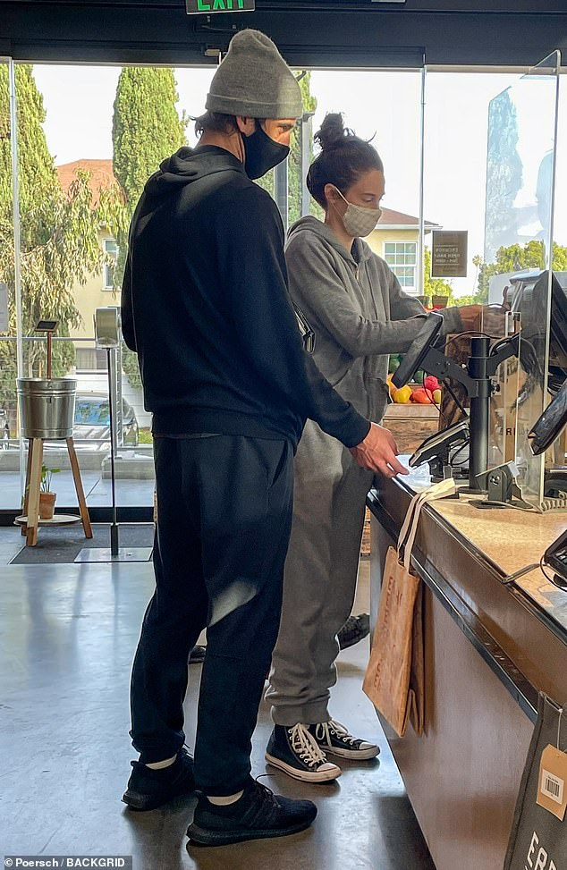 Casual: The actress, 29, and the Green Bay Packers QB, 37, who confirmed their engagement in February after starting to date last year, were dressed down in sweats for their outing