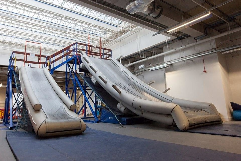 The BA training facility has two full-size emergency slides - one used in single-aisle aircraft, the other (right) in wide-bodied planes, including the A380