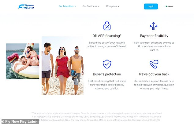 Fly Now Pay Later's small print includes an example where an £800 holiday is subject to a £136 'transaction fee', giving the credit an APR of 51.8%