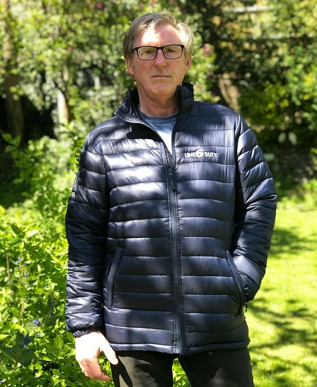 All yours:Adrian Dunbar - who plays Hastings - is auctioning his jacket from the series to raise money for children's projects in Kenya and Malawi